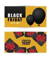 black friday sale letterings banner with gifts in yellow background vector