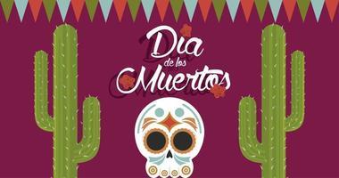 dia de los muertos poster with head skull and cactus vector
