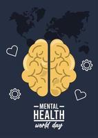 campaña del día mundial de la salud mental con iconos en mapas terrestres