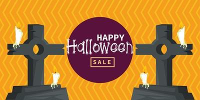 happy halloween celebration card with cemetery tombs and candles