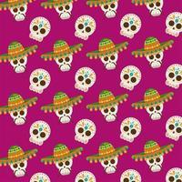 cartel de dia de los muertos con patrón de calaveras de mariachi vector
