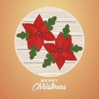 Feliz navidad letras con flores en marco de madera circular vector