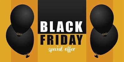 black friday sale lettering banner with helium floating balloons vector