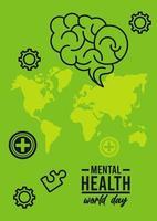 campaña del día mundial de la salud mental con mapas terrestres y cerebro