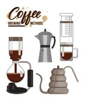 four coffee brewing methods bundle set icons vector