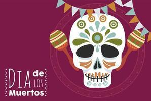 dia de los muertos poster with head skull and maracas vector