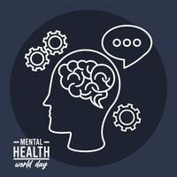 world mental health day campaign with brain profile and gears line style vector