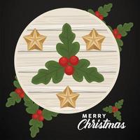 Feliz navidad letras con hojas y estrellas en marco de madera vector