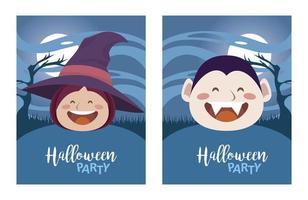 feliz fiesta de halloween con drácula y cabezas de brujas
