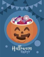 happy halloween party with sweet candies in pumpkin vector