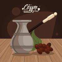 turkish coffee brewing method icon vector