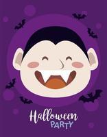 feliz fiesta de halloween con el recuento de drácula y murciélagos volando