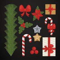 conjunto de iconos de tarjeta de feliz navidad vector