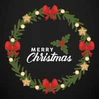 merry christmas lettering with bows and stars vector