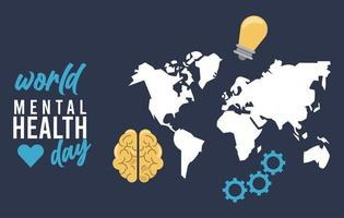campaña del día mundial de la salud mental con mapas de la tierra y bulbo
