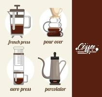 four coffee brewing methods bundle set vector
