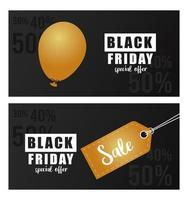 black friday sale banner with golden tag and helium balloon vector