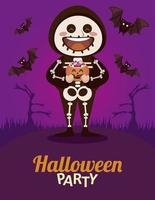 happy halloween party with skeleton and bats flying vector