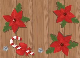 Feliz Navidad tarjeta con flores y hojas en fondo de madera vector