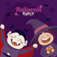 feliz fiesta de halloween con drácula y bruja