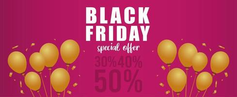 black friday sale lettering banner with golden balloons helium in pink background vector