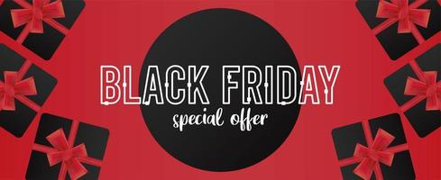 black friday sale banner with gifts in red background