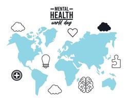 campaña del día mundial de la salud mental con mapas terrestres e iconos de estilo de línea