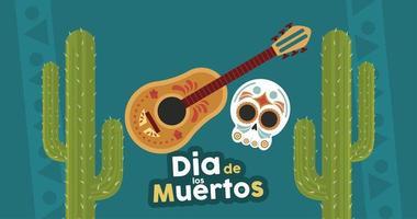 dia de los muertos poster with head skull and guitar in cactus vector