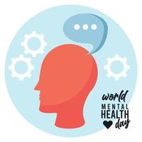 world mental health day campaign with head profile and speech bubble vector