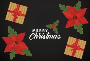 feliz navidad letras con regalos dorados y flores vector