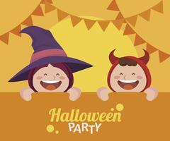 happy halloween party with little devil and witch vector
