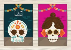 dia de los muertos poster with katrina and head skulls and garlands vector