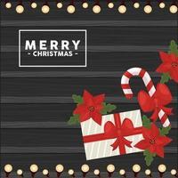 Feliz navidad letras en marco cuadrado con regalo y bastón vector