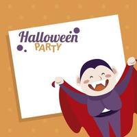 feliz fiesta de halloween con personaje de dracula count vector