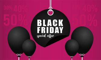 black friday sale banner with lettering in circular tag vector