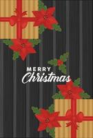 feliz navidad letras con regalos y flores vector