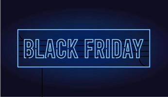 black friday sale banner with neon light lettering vector