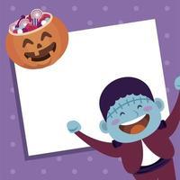 happy halloween party with frankenstein and candies pumpkin vector