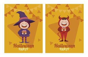 happy halloween party with little devil and witch characters vector