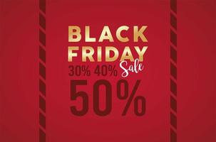 black friday sale banner with golden lettering in red background vector