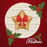 Feliz navidad letras con estrella dorada y hojas en fondo de madera circular vector