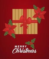 Feliz navidad letras con regalo dorado y flores en fondo rojo. vector