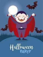 feliz fiesta de halloween con el recuento de drácula y murciélagos volando en la escena nocturna