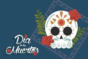 dia de los muertos poster with head skull and floral decoration vector