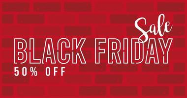 black friday sale banner with lettering in red wall vector