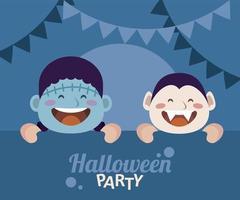 feliz fiesta de halloween con drácula y frankenstein