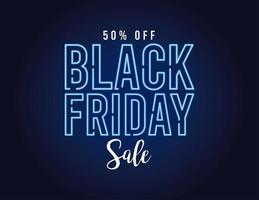 black friday sale banner with neon light lettering in blue background vector