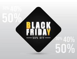 black friday sale banner with isometric lettering and fifty percent vector