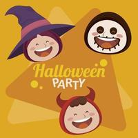 happy halloween party with witch and devil and skeleton heads vector