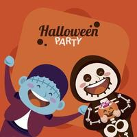 happy halloween party with skeleton and frankenstein vector